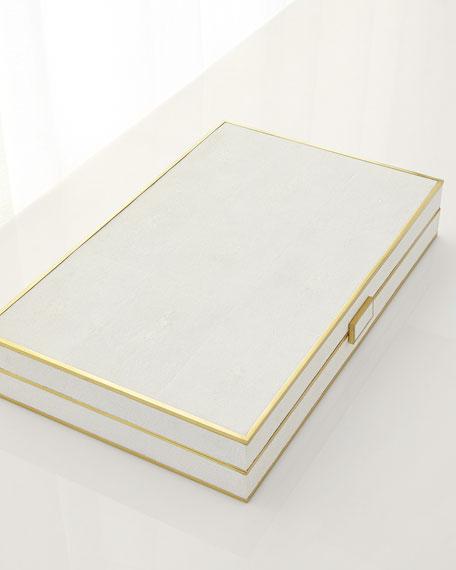 Cream Shagreen Backgammon Set
