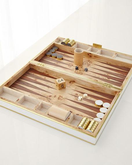 AERIN Cream Shagreen Backgammon Set