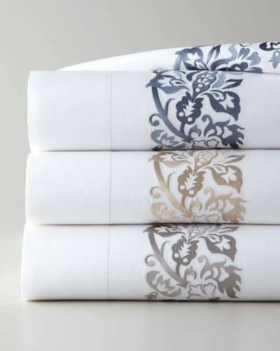 King 406 Thread Count Plumes Embroidered Flat Sheet