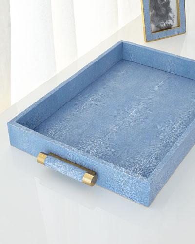 Blue Shagreen Rectangular Tray