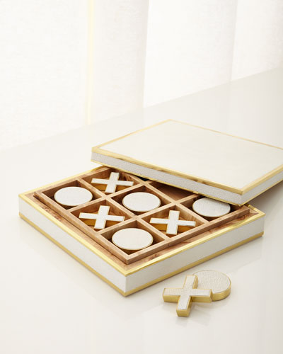 Cream Faux-Shagreen Tic Tac Toe