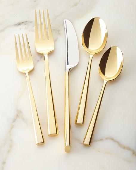5-piece malmo gold flatware place setting
