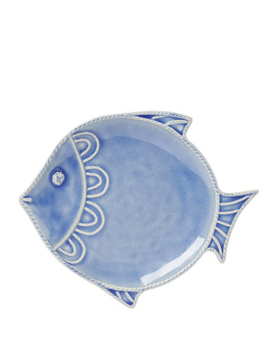 Berry & Thread Delft Blue Crackle Fish Dessert/Salad Plate