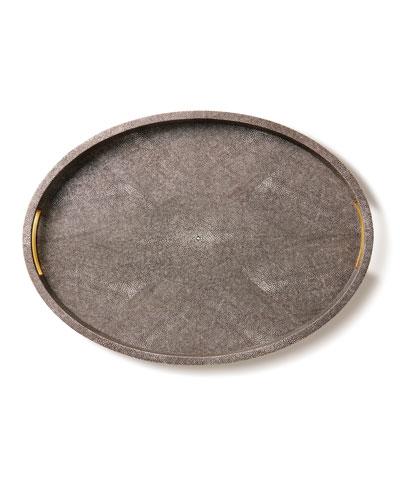 Modern Chocolate Faux-Shagreen Tray