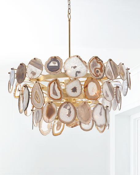 John-Richard Collection Agate Sliced 15-Light Chandelier