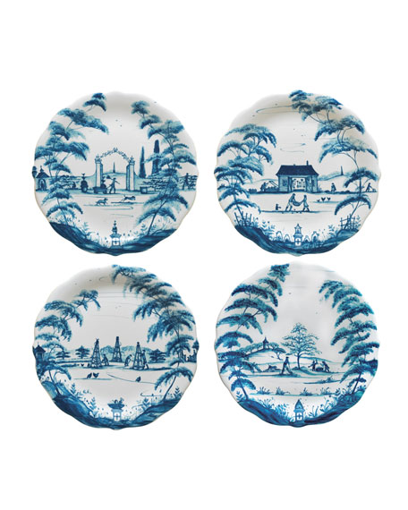 Country Estate Delft Blue Party Plates, 4-Piece Set