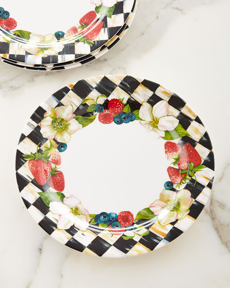 & MacKenzie-Childs Berries u0026 Blossoms Melamine Dinner Plates Set of 4