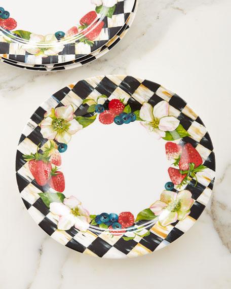 Berries & Blossoms Melamine Dinner Plates, Set of 4