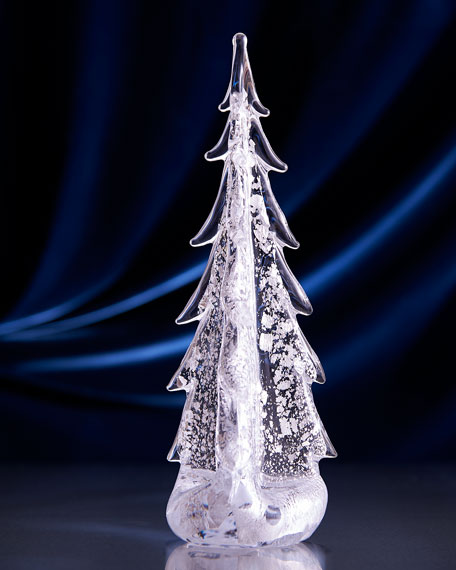 "Sterling Silver-Leaf Evergreen 14"" Tree"