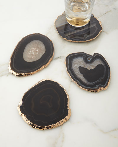 Black Agate Coasters  4-Piece Set