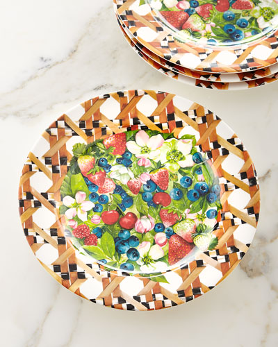 Berries & Blossoms Melamine Buffet Plates, Set of 4