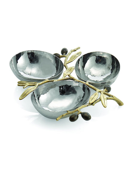 Gold-Tone Olive Branch Three-Section Nut Dish