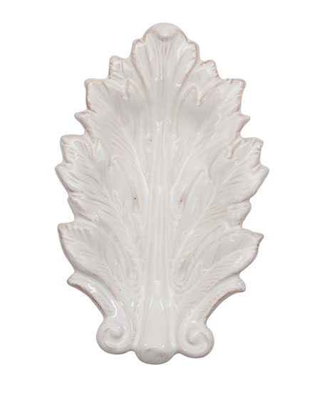 "Acanthus Whitewash 7"" Leaf Tray"