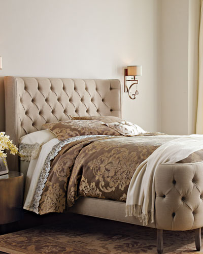 Linen Larkspur Queen Bed