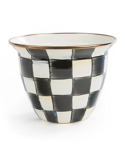 Courtly Check Enamel Flower Pot