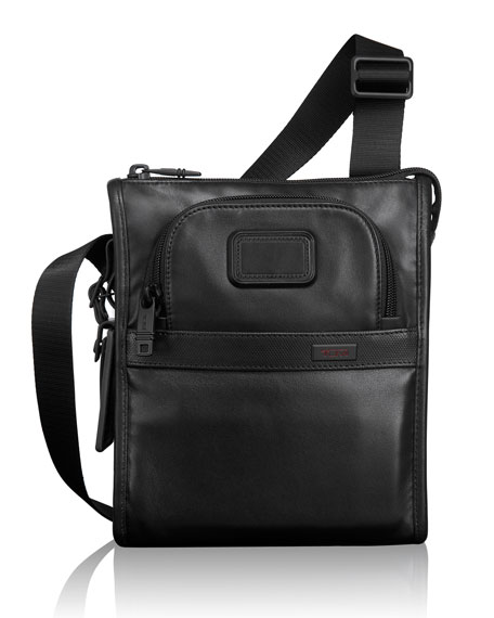 Tumi Alpha 2 Black Leather Pocket Bag
