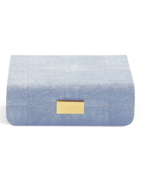AERIN Small Embossed-Shagreen Jewelry Box, Blue