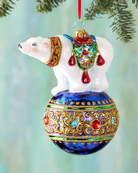 """Bejeweled Balancer"" Polar Bear Christmas Ornament"