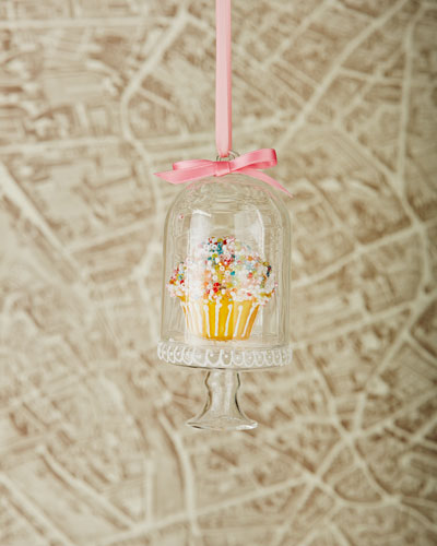 Yellow Cupcake Cloche Christmas Ornament