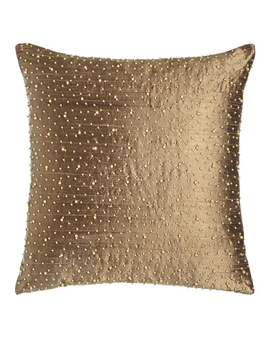 Beaded Silk Pillow  17.5Sq.