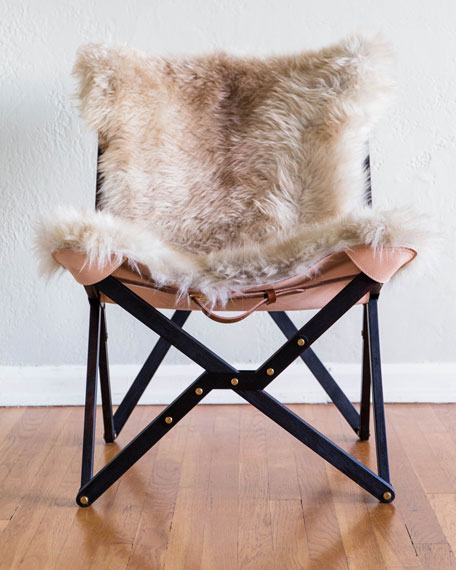 Texas Rover Company Dollie Noir Beige Brown Sheepskin Chair