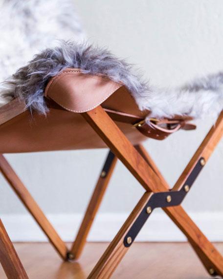 Dollie Natural Silver Blue Sheepskin Chair