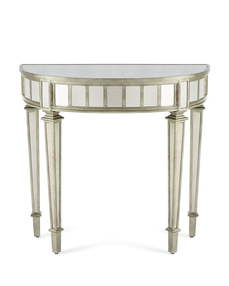 Demilune Console Table, Pewter