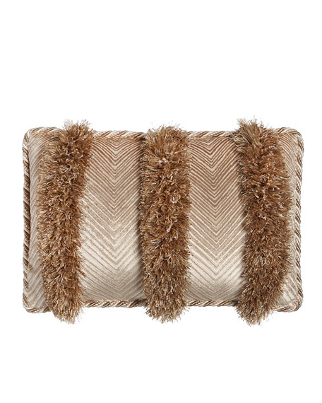 "Sloane Chevron/Fringe Pillow, 21"" x 14"""