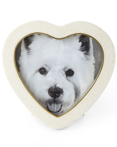 Cream Faux-Shagreen Heart Picture Frame