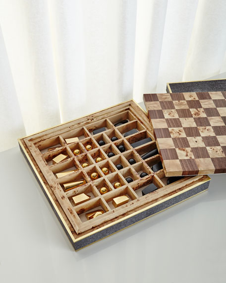 Chocolate Faux-Shagreen Chess Set