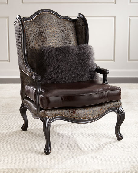 Massoud Sarah Leather Wingback Chair
