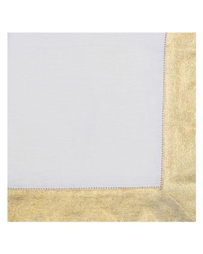Shimmer-Border Linen Napkin  Gold