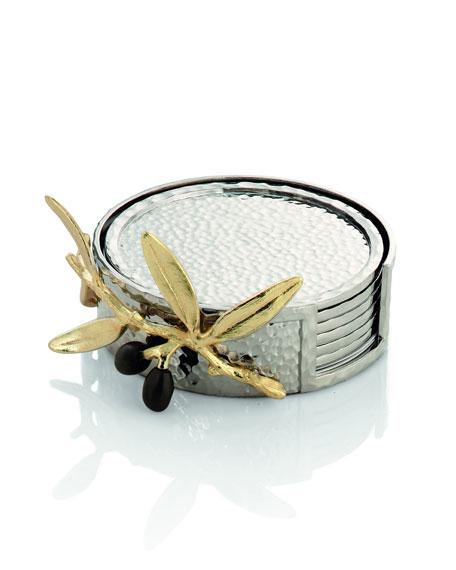 Golden Olive Branch Coaster Set