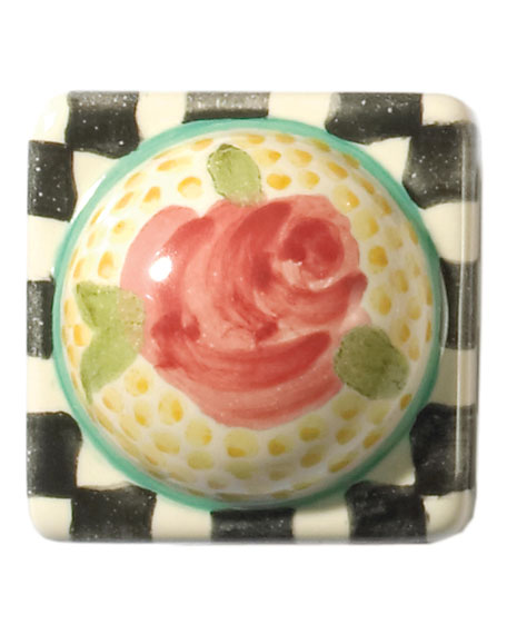 MacKenzie-Childs Petit Four Square Rose Majolica Decorative Knob