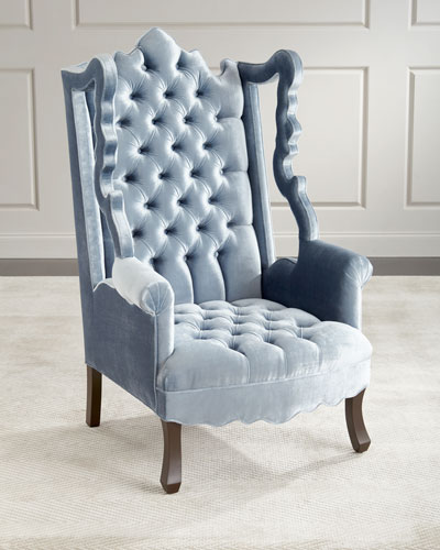 Isabella Tufted Velvet Cut-Out Wing Chair