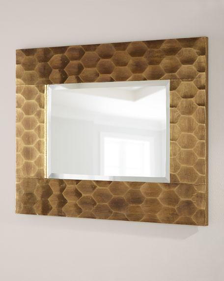 Brass Hexagon Mirror 43x33