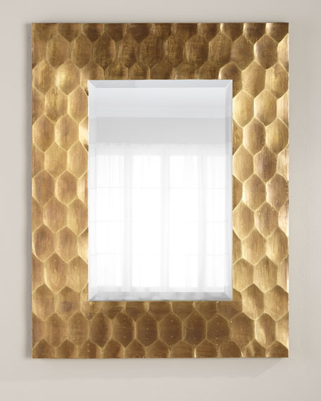 Brass Hexagon Mirror 43x33