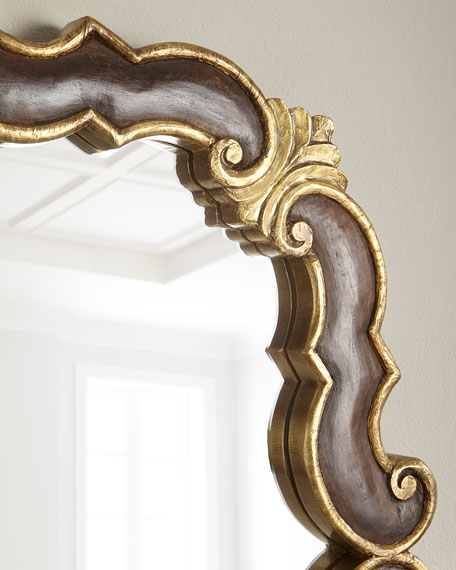 Wood and Brass Scroll Mirror