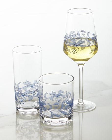 Blue Italian Wine Glasses, Set of 4