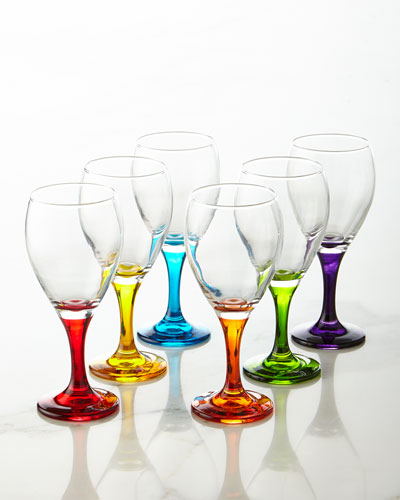 Six Rainbow Crystal Wine Glasses