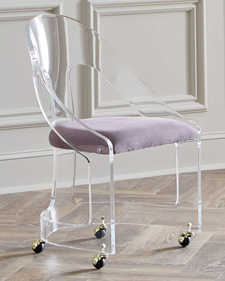 Interlude Home Mabel Brass Trimmed Acrylic Chair
