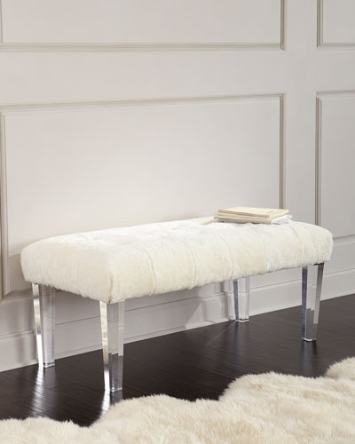 Jaselyn Shearling Bench  Ivory
