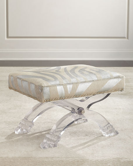 Braddock Silver Zebra-Stripe Ottoman, Gray/White