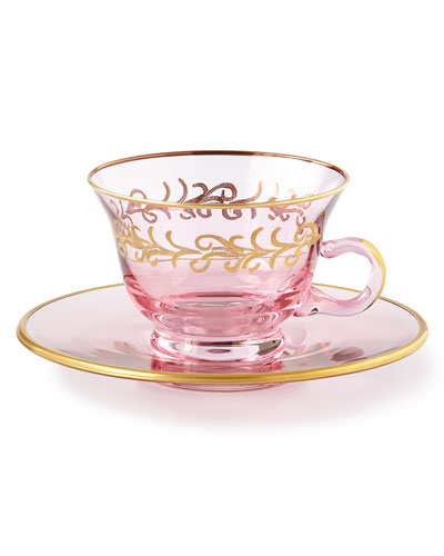 Blush Oro Bello Teacups/Saucers, Set of 4