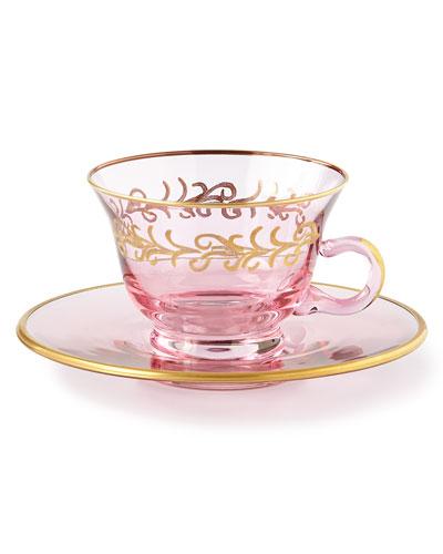 Blush Oro Bello Teacups/Saucers, Set of 4