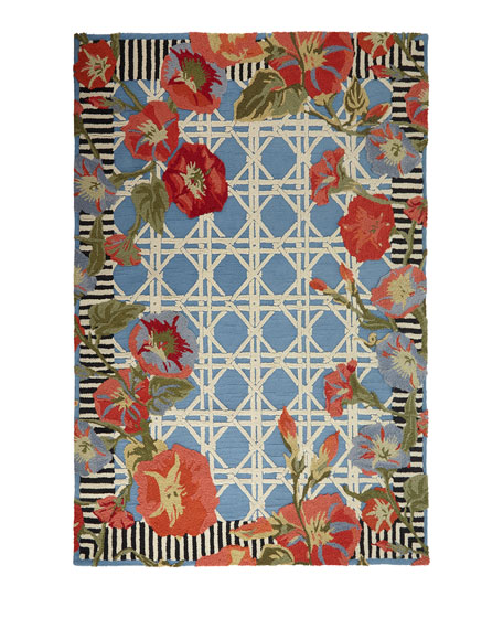 MacKenzie-Childs Blue Morning Glory Indoor/Outdoor Rug, 2' x