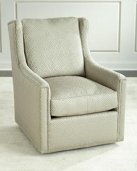 Massoud Braxton Swivel Chair, Beige