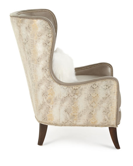 Pelham Leather Wingback Chair, Gray Metallic