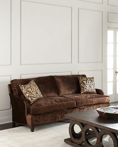Massoud Carla Velvet Sofa, Brown