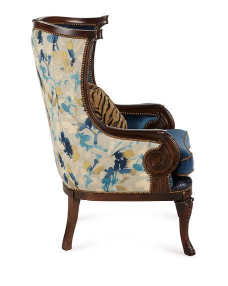 Gannon Wingback Chair, Indigo